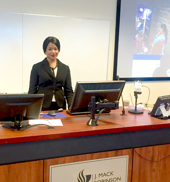 Presenting alongside the Consul-General of India and UPS on my work in community engagement & educational campaigns for women, adolescent and child health at the Global Indian Business Council & Georgia State University's Smart Village Roadmap conference in March 2017 in Atlanta