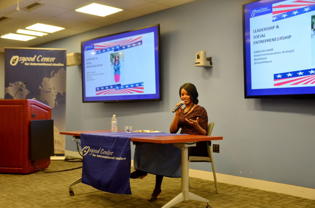 Speaking to Osgood Center participants at GWU